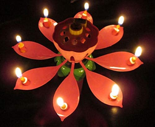 2pcs Magic Musical Flower Music Candles Lotus Flower Candle Birthday Candles Romantic Gift For Birthday Music Candle