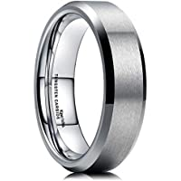 King Will 6MM Wedding Band for Men Tungsten Carbide Ring Engagement Ring Comfort Fit Beveled Edges