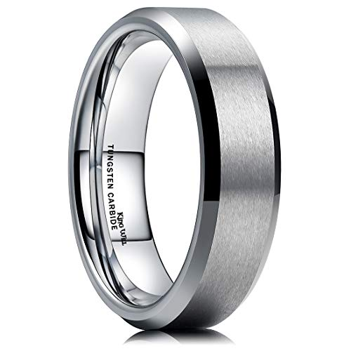 King Will 6MM Wedding Band for Men Tungsten Carbide Engagement Ring Comfort Fit Beveled Edges -