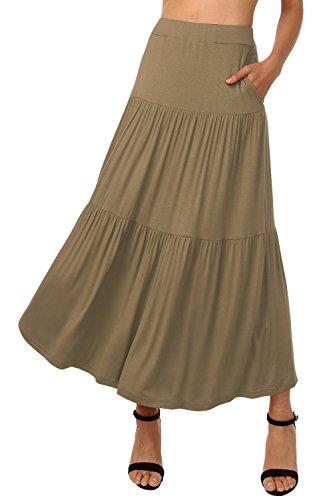 Poches Uni Longue Brun Plisse Jupe Jupes Rtro Maxi Casual Femme Clair Taille Haute avec DJT Jupe tzgOBwqc