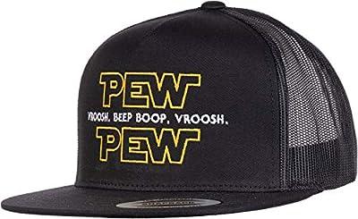 Pew Pew Wars | Funny Sci-fi Space Star Noises Science Geeky Cap, Nerdy Dad Hat-(Trucker) Black