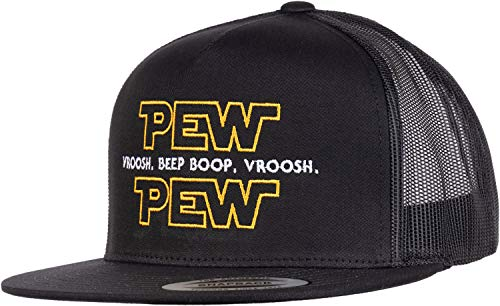 (Pew Pew Wars | Funny Sci-fi Space Star Noises Science Geeky Cap, Nerdy Dad Hat-(Trucker) Black)