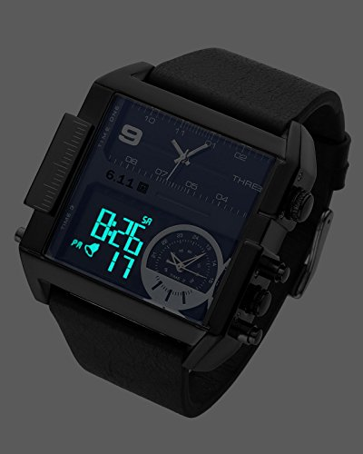 Top Plaza Men's Black Square Digital Electronic Genuine Leather Band 3ATM Waterproof LCD Sport Watch Casual Business Quartz Military Multifunction Back Light by Top Plaza (Image #6)