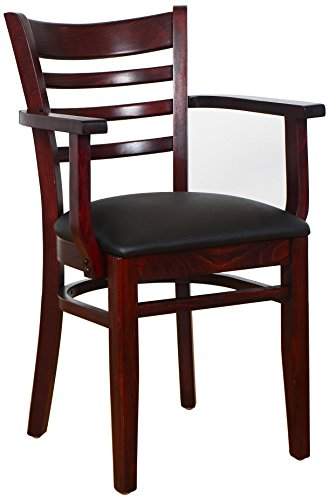 Beechwood Mountain BSD-5A-Dm Solid Beech Wood Arm Chair in Dark Mahogany for Kitchen & Dining