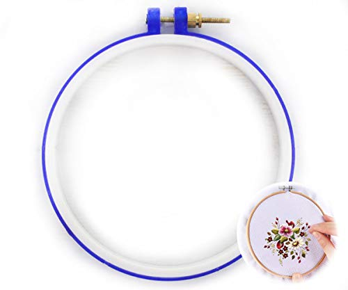 Blue Plastic Embroidery Circle Cross Stitch Hoops Ring Frame Round 15cm 6 inch