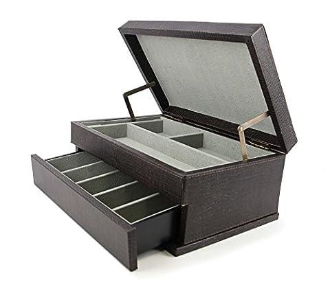 Executive High class Cufflink Case & Ring Storage Organizer Men's Jewelry Box Gift (Dark grey)