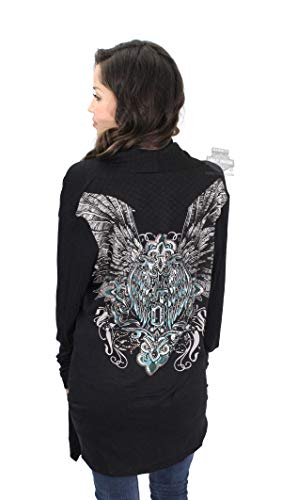 (Harley-Davidson Womens Wing Quilted Accents with Rhinestones Cardigan Black Long Sleeve (L/XL))