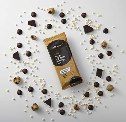 Barology High Protein Energy Bar for Men, Delicious Chocolate Chip Cookie Dough, Low Sugar, 11g Net Carbs, 18g High Protein, 14g Fiber, Gluten Free, Prebiotics, 2.1 oz Bar, 12 Count Pack