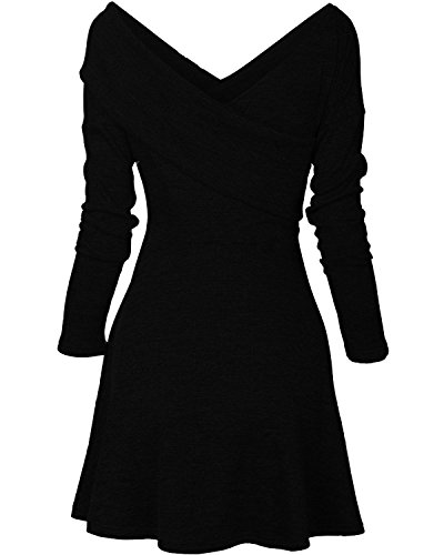 Jersey Sleeve Wrap Dress Pullover Warm Swing Fit Casual Black Slim Temptme Long Midi Womens qEfwxRI4