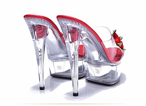 HXVU56546 La Nueva Ultra-Transparentes Cristales Con Las Señoras Sandalias Zapatillas Zapatos Sandalias Pasarela Fino red