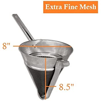 """Bouillon Strainer - Reinforced Extra Fine Mesh Chinois Strainer - 8"""", Tin Plated Steel Mesh, Stainless Steel Frame - Perfect in Pot Strainer to Seive Bouillon, Yogurt, Jam Making & Baby Food"""