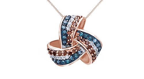 Jewel Zone US Natural Red, Blue White Natural Diamond Love Knot Pendant Necklace in 925 Sterling Silver (1/3 ct)