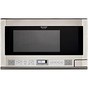 Sharp R-1214 1-1/2-Cubic Feet 1100-Watt Over-the-Counter Microwave, Stainless