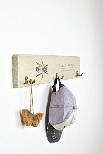 Wooden coat rack with vintage bee print by arborala (Image #3)