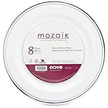"Mozaik Premium Plastic 10.25"" Silver Banded Dinner Plates, 8 count"