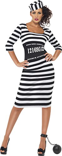 Convict Costume Uk (Smiffy's Classy Convict Costume, Black/White, Small)