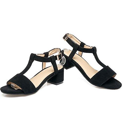 COOLCEPT Damen Mode T-Spangen Sandalen Blockabsatz Open Toe Slingback Schuhe Schwarz