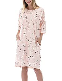 Smallshow Women's Cotton Nursing Nightgown Lounge Dress