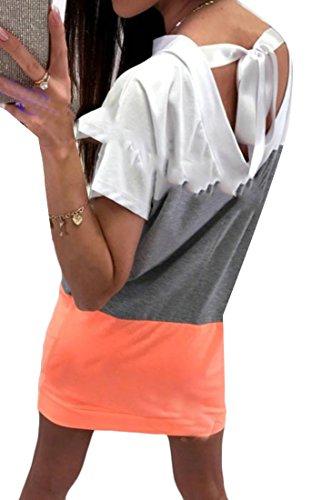 Estate Colore Di Arancione Sciolto Di Mini Casuale Adattarsi Corta Cambiamento Contrasto Delle Cromoncent Vestito Abiti Manica Donne rnr7qO