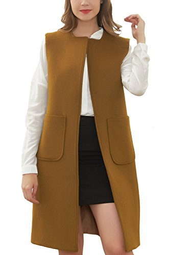 Brown Trench (Hanayome Women's Long Jacket Trench Lapel Woolen Coat Sleeveless Dress Vest Coat MI28 (Brown, 8))