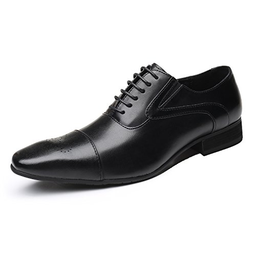 43a3990941f78 Men's Business Casual Shoes, Classic Leather Oxfords Dress Shoes Modern  Round Cap Toe Lace up Formal Shoes for Men