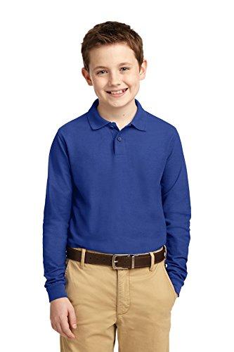 Sleeve Youth Pique Polo - Port Authority Boys' Long Sleeve Silk Touch Polo M Royal
