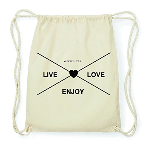 JOllify AUBERVILLIERS Hipster Turnbeutel Tasche Rucksack aus Baumwolle - Farbe: natur Design: Hipster Kreuz