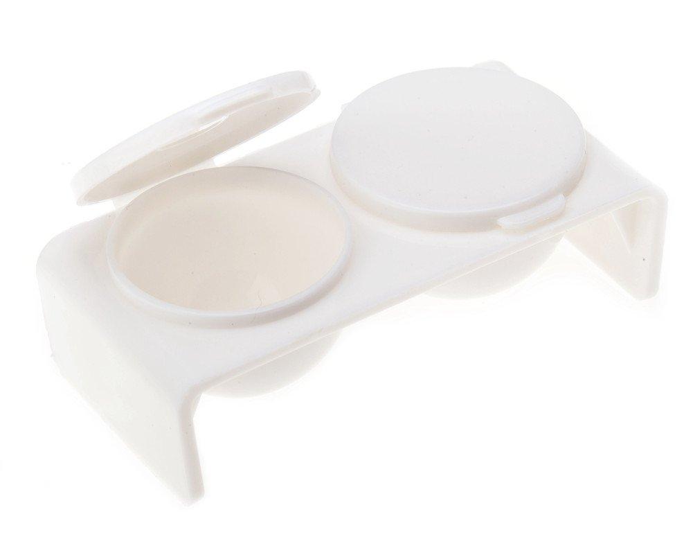 White Plastic Liquid Double Dappen Dish Nail Art Manicures - 2 Wells By VAGA®