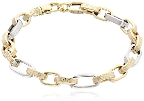 Men's 10k Gold Two-Tone Italian Greek Key Link Design Link Bracelet, (Two Tone Gold Greek Key)