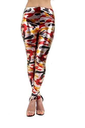 Fashions Red leggings Orange Pantaloncini Legging amp;Ayat Donna Momo Aw5qpHc