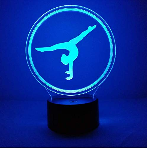 Creative 3D Gymnastics Night Light 7 Colors Changing USB Power Touch Switch Decor Lamp Optical Illusion Lamp LED Table Desk Lamp Children Kids Brithday Christmas Gift