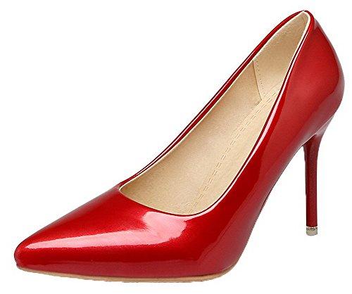 AalarDom Femme Verni Couleur Unie Fermeture d'orteil Stylet Chaussures Légeres Rouge jfWdRvntn