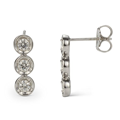 (Forever Classic 3.25mm Round Moissanite Three Stone Drop Earrings, 0.78cttw DEW by Charles & Colvard)