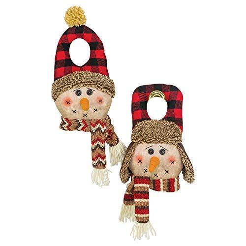Hanna's Handiworks Country Pine Snowmen 6 x 11 Inch Plush Christmas Door Hangers Assorted Set of 2