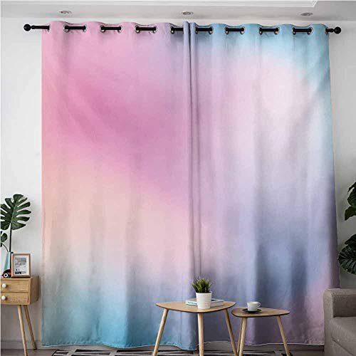 Grommet Curtains,Pastel Abstract Blurry Colors Composition Sweet Daydream Fantasy Miscellaneous,Blackout Draperies for Bedroom,W108x108L,Pink Aqua Peach White ()