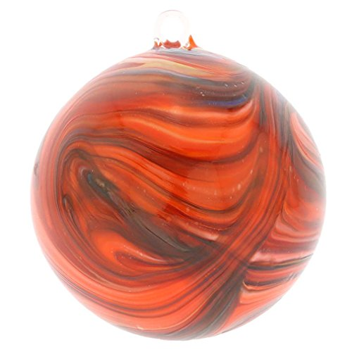 GlassOfVenice Murano Glass Chalcedony Christmas Ornament - Red Swirl