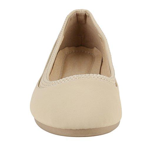 Stiefelparadies Klassische Damen Ballerinas Leder-Optik Flats Glitzer Ballerina Schuhe Schleifen Lack Slipper Übergrößen Gr. 36-44 Flandell Creme Avelar