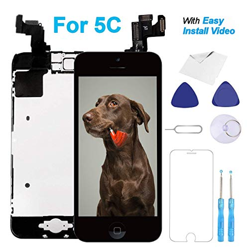 for iPhone 5C Screen Replacement Black Lcd - with [Home Button] [Front Camera] [Proximity Sensor] [Ear Speaker] [Repair Tools] Display Touch Digitizer Frame Full Assembly Kit