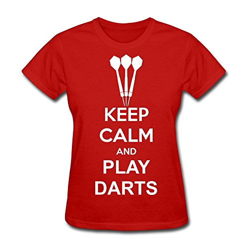 WXTEE Women's Keep Calm And Play Darts Shirt Size XS Red