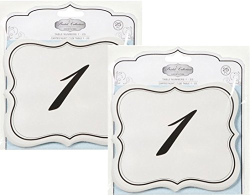 UPC 737534438015, Set of 2 Numbers 1-25 Table Cards Wedding Reception David Tutera Scroll Edge Double Side