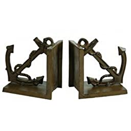 Antique Brass Anchor Bookends 5\
