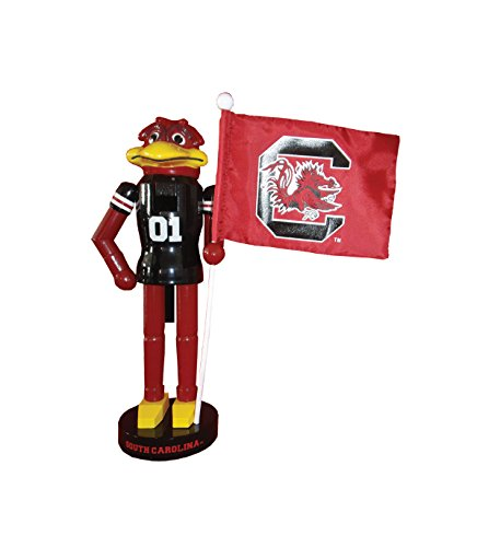 Festive College Football 12'' South Carolina Mascot & Flag Nutcracker by naturally home (Image #1)