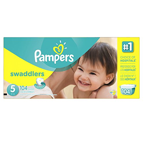 Pampers Swaddlers Disposable Diapers Size 5, 104 Count, ECONOMY