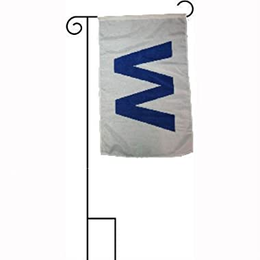 Moon 12''x18'' Chicago Cubs '' W '' Win Sleeved w/Garden Stand Flag - Vivid Color and UV Fade Resistant - Prime Outside Garden Home Decor