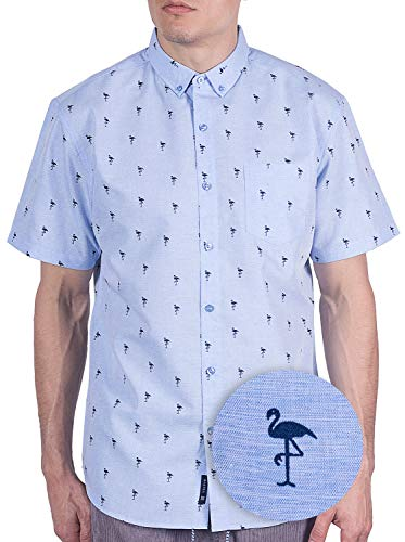 Visive Mens Hawaiian Flamingo Shirt Short Sleeve Button Up Tropical Shirts Blue Flamingo, 2XL