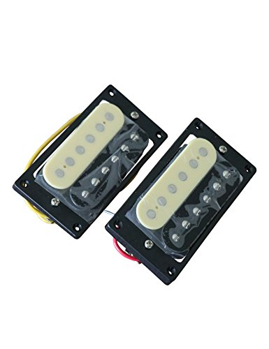 Metallor Zebra Humbucker Pickup Double Coil Ceramic Magnet Pickup Compatible with LP Style Electric Guitar Parts Replacement Neck and Bridge Set of 2Pcs (Black and Cream)