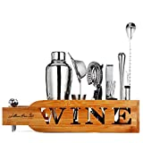 Jillmo Pro Bartender Kit-14pieces Premium Bar Tools with Stylish Bamboo Stand-Perfect Home Bartending Kit and Cocktail Shaker Set/19oz Parisian Cocktail Shaker with bar Accessories