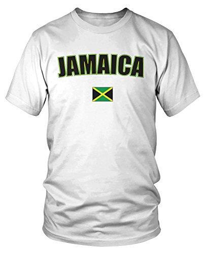 Amdesco Men's Jamaica Country Flag, Jamaican Flag T-Shirt, White XL
