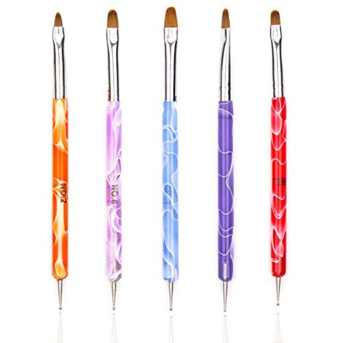 5 x Nail Art Dotting Pens False Nails Painting Polish Brushes 2-Way Tool Marbleizing Generic