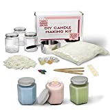 Complete Soy Wax Candle Making Kit DIY Beginners Set- Includes Supplies to Make 3 Candles Including Soy Wax, Premium Essential Oils, Hexagon Jars, Color Dye Chips, Wax Melting Pot and More.